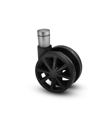 Nylon wheels and metal base